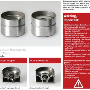 INA Lightweigh valve tappets 420 0043 10 Audi 20V